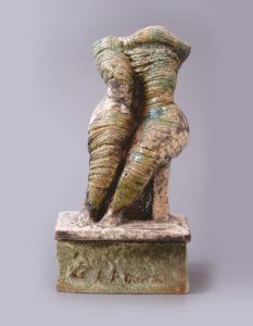 Palkó Ernő • MELANCHOLY • porcelain, chamotte clay, raku, 1250 °C • 20×14×30 cm