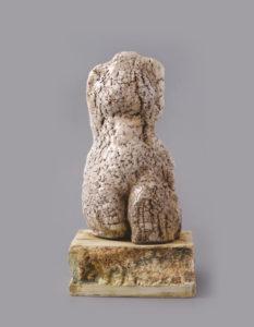 Palkó Ernő • WHITE TORSO • porcelain, chamotte clay, raku • 20×24×37 cm