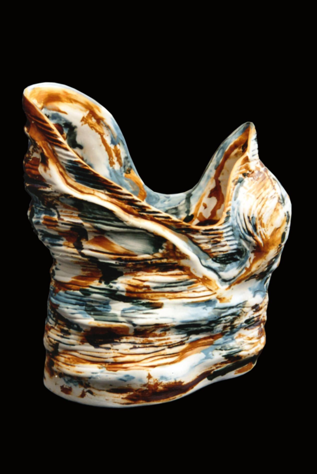 Marine couple • coloured porcelain 1300 °C • 38×31×28 cm