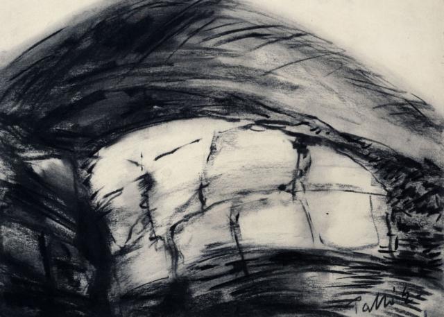 Palkó Ernő • Relief • charcoal • 70×50 cm