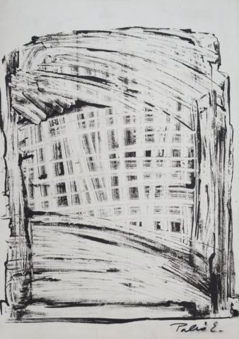 Palkó Ernő • Gate of memories 1 • monotype • 50×70 cm