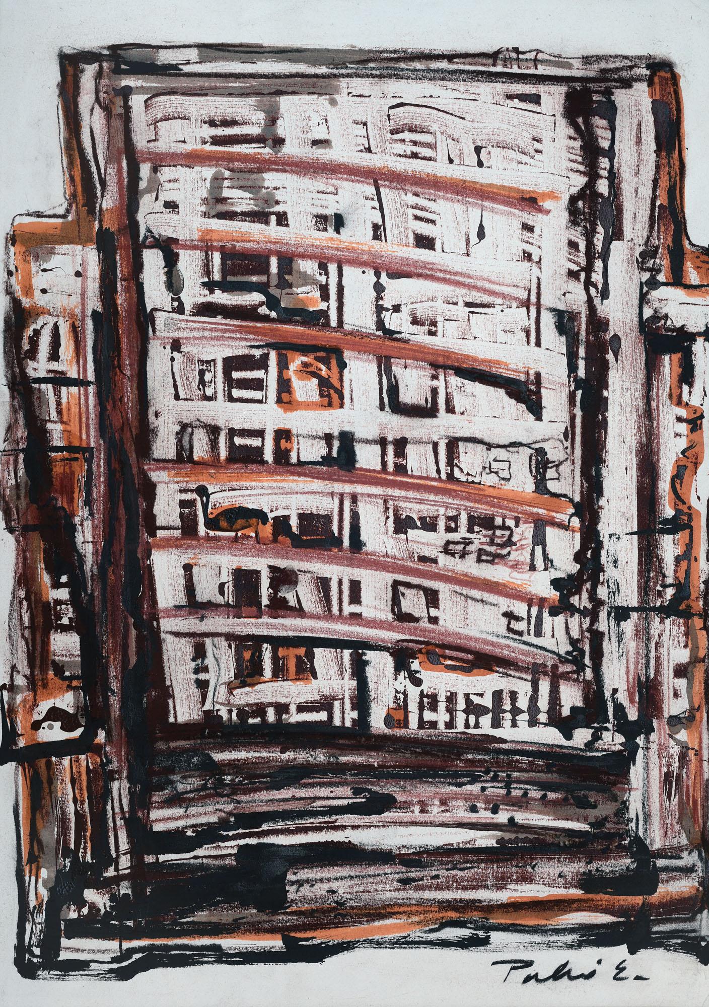 Palkó Ernő • Gate of memories 2 • monotype • 50×70 cm
