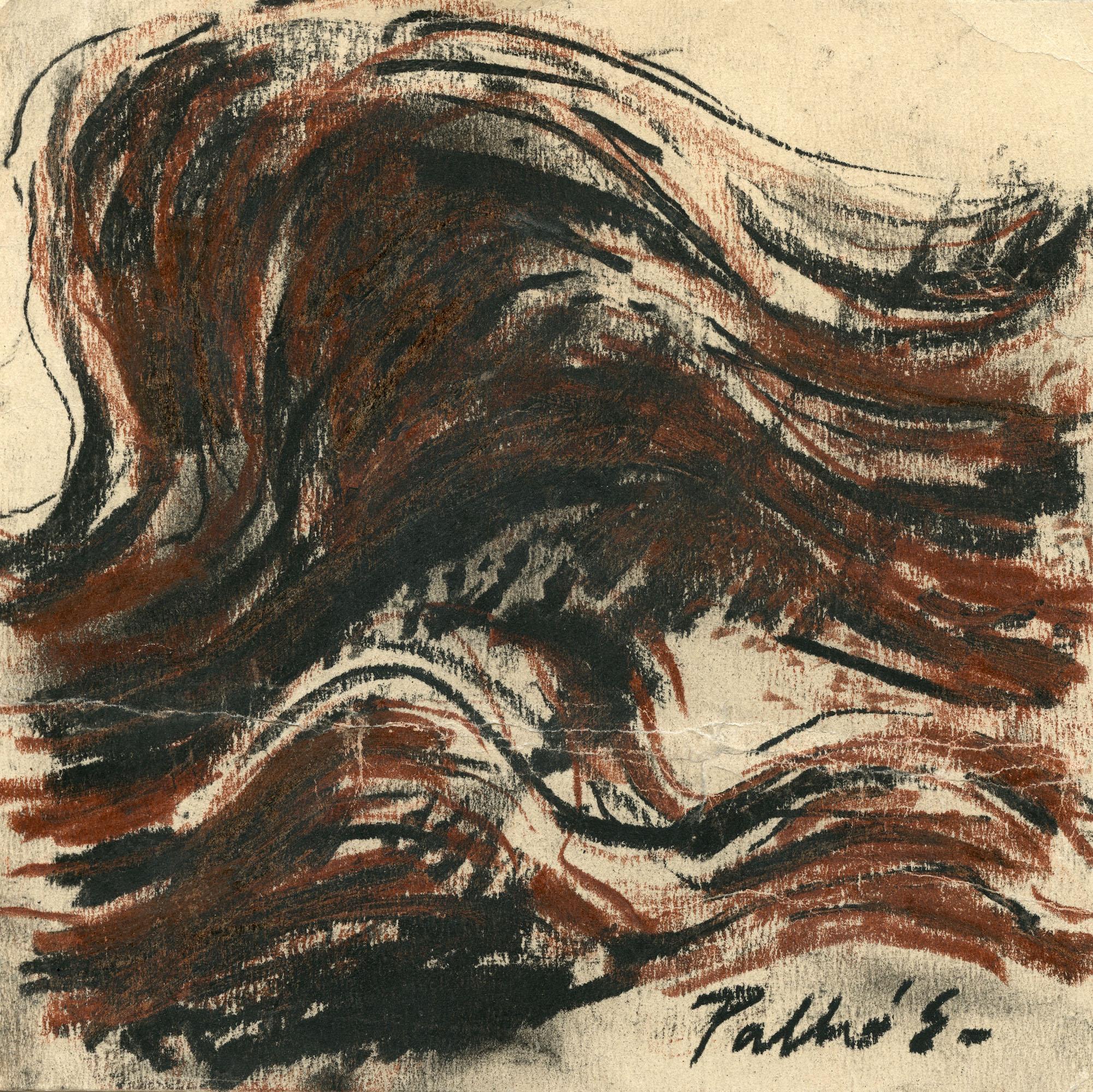 Palkó Ernő • Waving 1 • charcoal • 26×26 cm